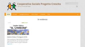 Screenshot della homepage della Cooperativa Progetto Crescita.