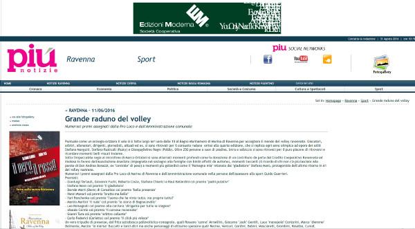 Screenshot testata online Più Notizie.
