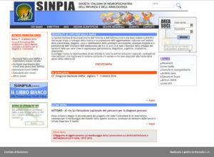 Screenshot homepage della Società Italiana di Neuropsischiatria Infantile e dell'Adolescenza.