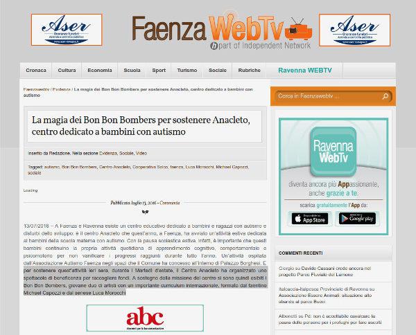 Screenshot testata online Faenza Web TV.